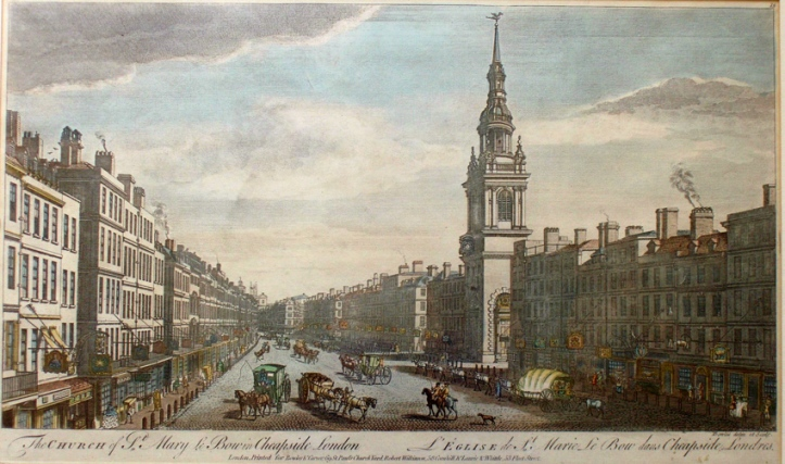 14. A view of Cheapside in 1757 by Thomas Bowles (1701-1758) – here in a later issue from 1794.