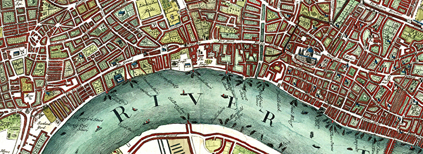 "Detail from ""A Plan of the City's of London, Westminster and Borough of Southwark"" (1720)."