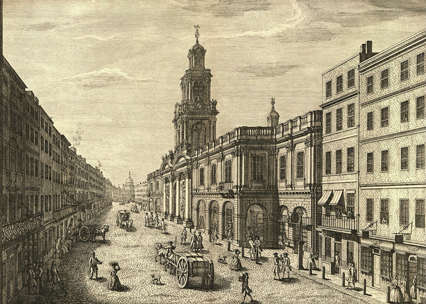 4. Cornhill and the Royal Exchange in 1741. © The Trustees of the British Museum.