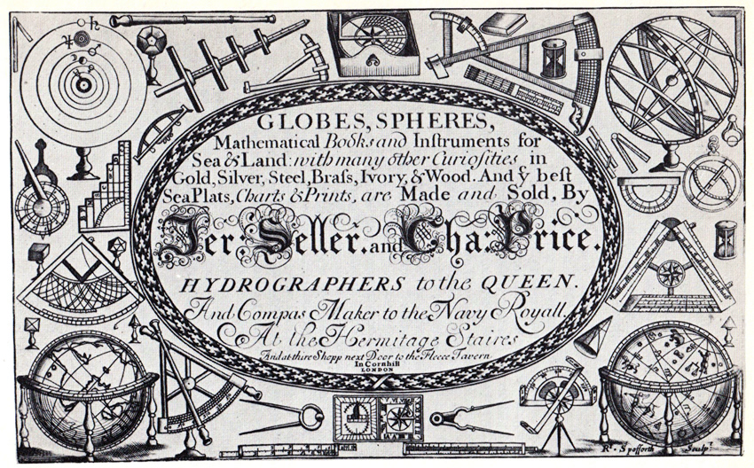 7. Trade-card of about 1705 of Jeremiah Seller and Charles Price. © British Library Board. Maps. C. 21.b.22.