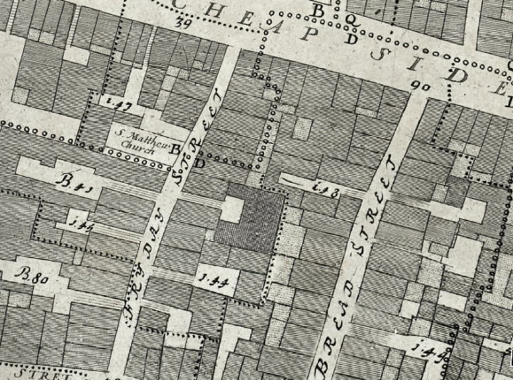 "Detail from Ogilby & Morgan's ""A New and Accurate Map of the City of London"" (1676)."