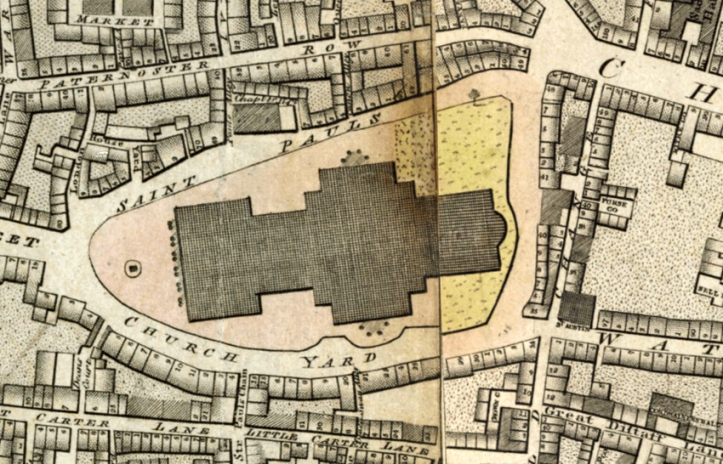 "Detail from Richard Horwood, ""Plan of the Cities of London and Westminster … Shewing Every House"" (1792-1799)."