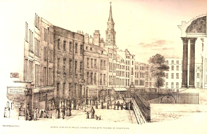 22. Lithograph by Thomas Hornor (1785-1844) of the North Side of St. Paul's Churchyard (ca. 1820).