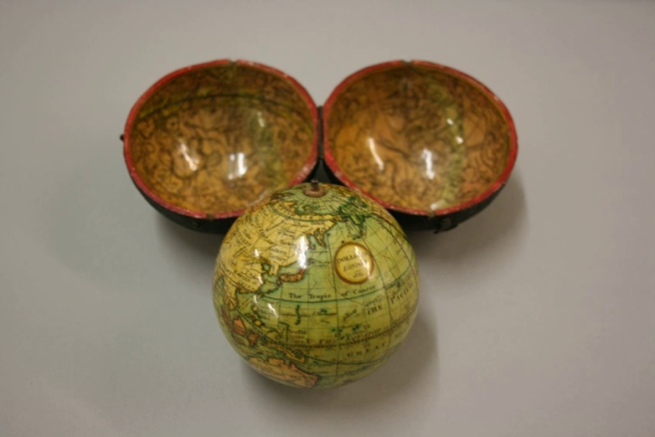 A three-inch Dollond pocket globe (1835), with its original case.