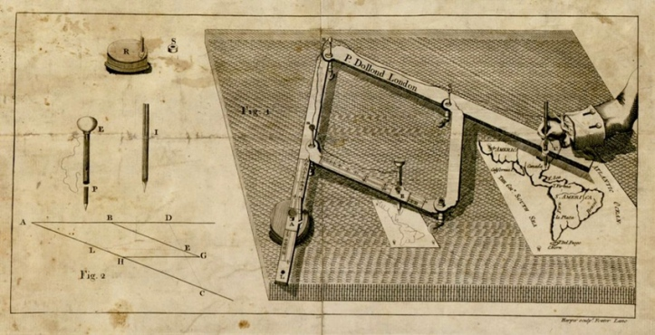 "Illustration from Peter Dollond, ""The Description and Use of the Pantographer, or Instrument for Copying Drawings"" (1766)."