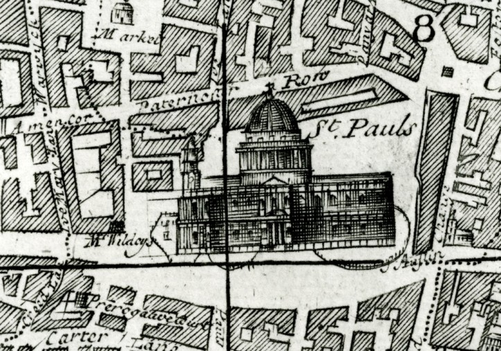 "Detail from ""A New and Exact Plan of the City's of London and Westminster"", first published in 1723"