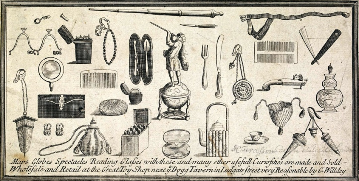 "27. Some of the ""many other usefull curiosities"" which could be bought from Willdey. An advertisement engraved by H. Terrason (fl.1713-1715) and cut from Willdey's 1714 map of North America. © The Trustees of the British Museum."