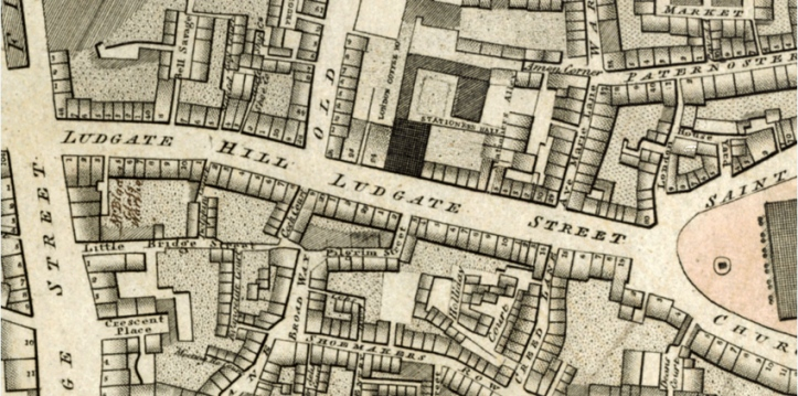 "Detail from Richard Horwood, ""Plan of the Cities of London and Westminster."