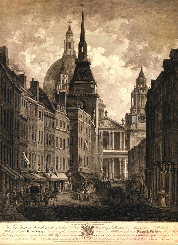 Ludgate Street looking eastwards to St. Paul's in 1795, with St. Martin Ludgate to the left. Engraved from a painting by William Marlow (1740-1813).