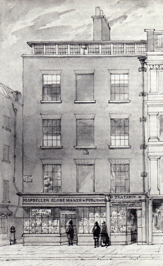 A study of about 1855 by the local artist James Findlay of the Cruchley premises at No. 81 Fleet Street.