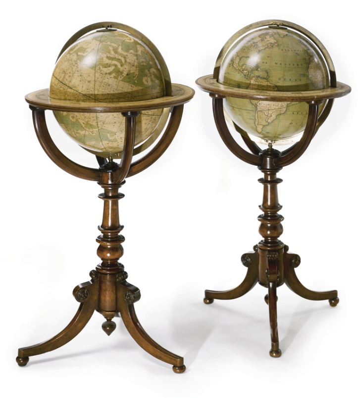 A pair of Cruchley twelve-inch globes from 1874.