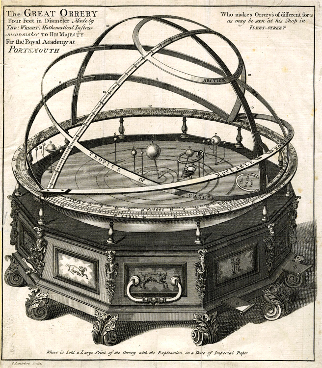 Wright's Great Orrery — an engraving by Clement Lempriere.