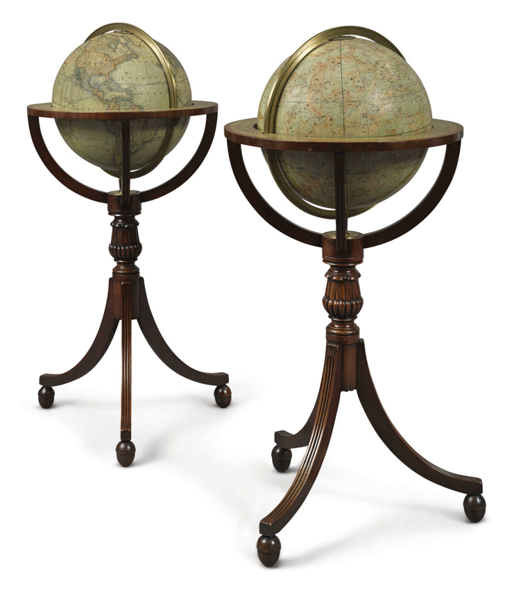 A pair of Victorian twelve-inch globes by Thomas Malby & Co., dated 1850 and 1848.