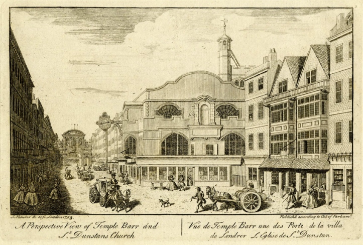 A view looking westwards down Fleet Street towards Temple Bar, drawn and engraved by John Maurer