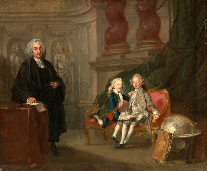 A painting by Richard Wilson (1714-1782) of Francis Ayscough (1701-1763), tutor to the royal children, with his charges the Prince of Wales (the future King George III) and Edward Augustus, Duke of York and Albany. A Senex globe is in the foreground.