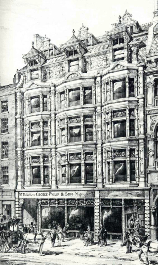 A contemporary view of the premises of George Philip & Son at No. 32 Fleet Street.