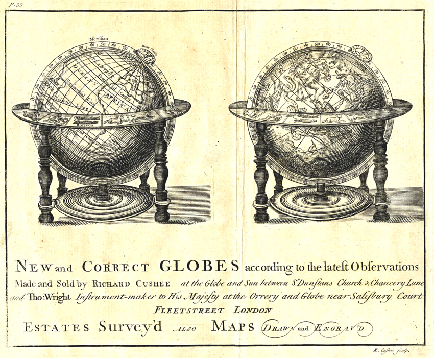 A joint advertisement for globes made by Cushee and Wright.
