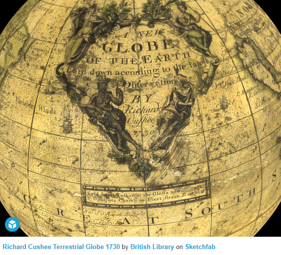 """A New Globe of the Earth Laid down According to the Latest Observations"" 1730, by Richard Cushee."