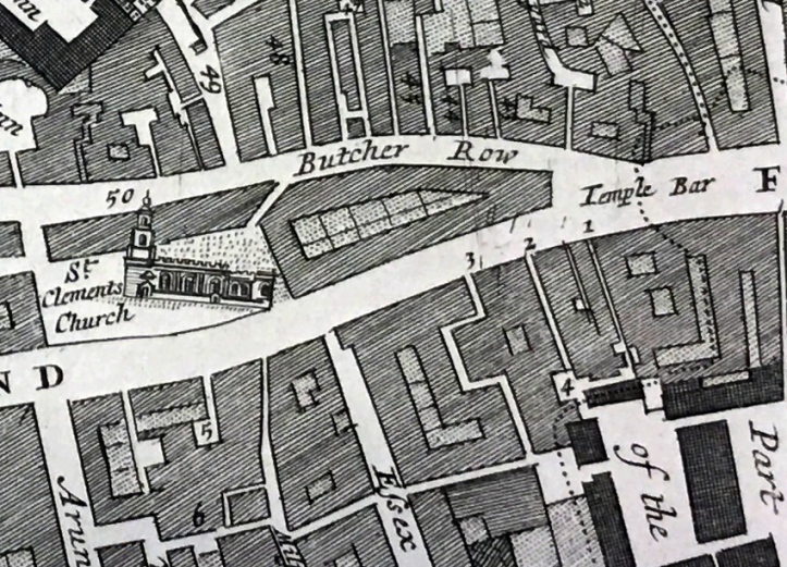 "Detail from Richard Blome, ""A Mapp of the Parishes of St. Clements Danes, St. Mary Savoy; with the Rolls Liberty and Lincolns Inn"", 1720."