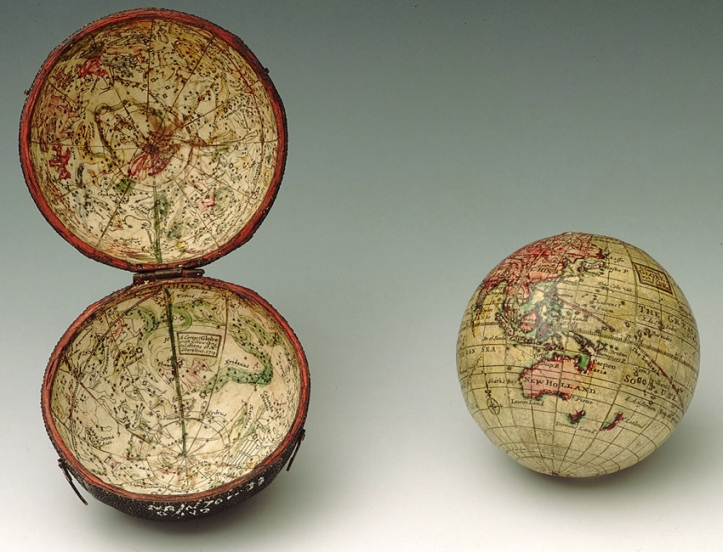 A 1719 pocket globe by Herman Moll.