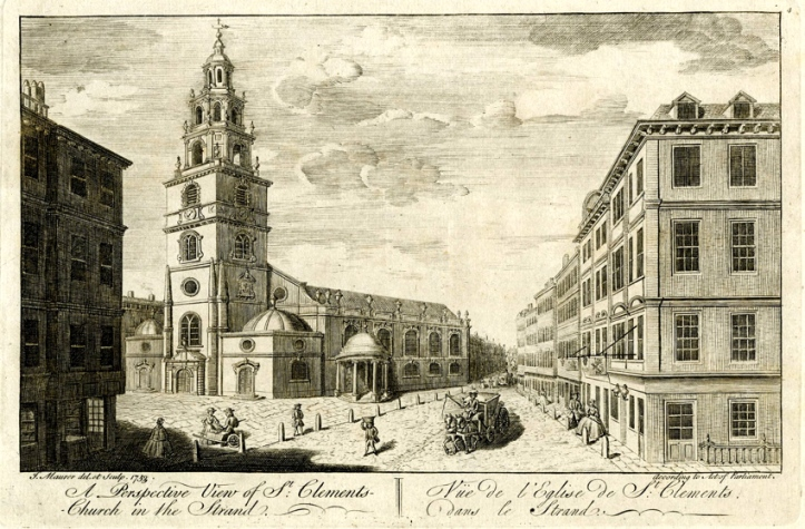 The view eastwards along the Strand towards Temple Bar. Drawn and engraved by John Maurer. 1753.