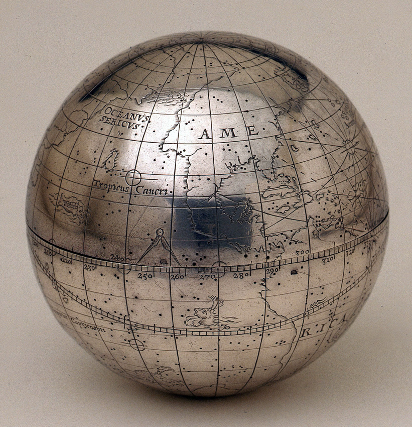 A terrestrial and celestial pocket globe of 1590 by Charles Whitwell.