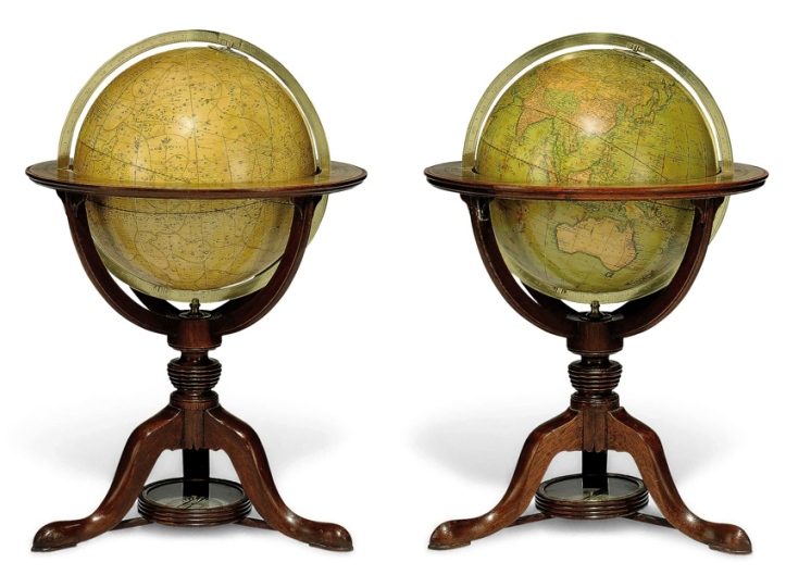A pair of twelve-inch globes (1800) by J. & W. Cary of the Strand.
