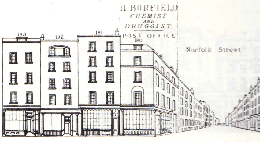 "The Cary premises at Nos. 181 and 182 Fleet Street as depicted in the supplementary series of ""Tallis's Street Views and Pictorial Directory"" (1847)."