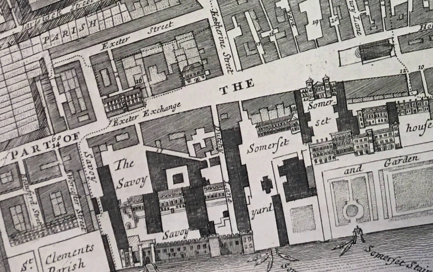 A further detail from the Richard Blome map above (72), showing the location of Exeter Exchange, opposite the original Somerset House.