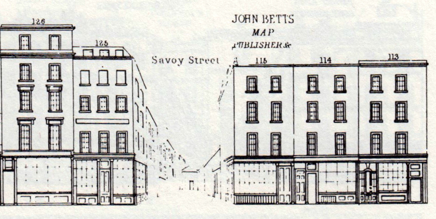 The premises of John Betts at No. 115 Strand, on the corner of Savoy Street.