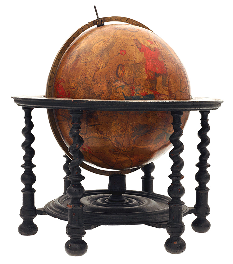 A fourteen-inch celestial globe of about 1700 by Thomas Tuttell.