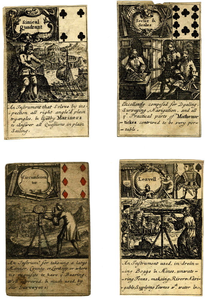 Thomas Tuttell playing cards of about 1700, showing scientific instruments in use.