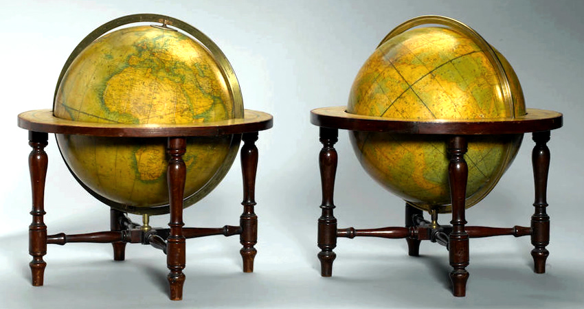 A pair of 1869 twelve-inch table-globes by the younger James Wyld